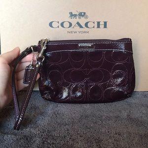 Purple Patent Signature Coach Wristlet